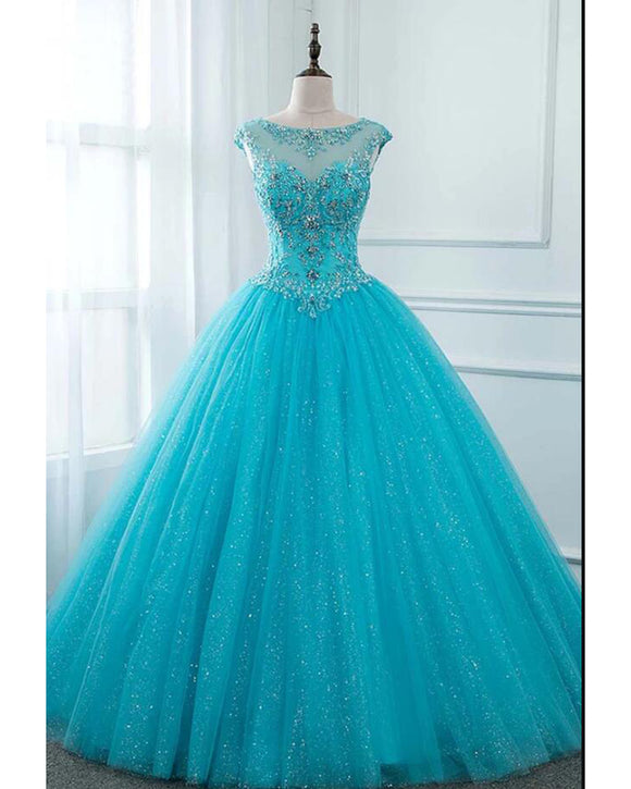 Siaoryne Glitter Sequin Crystal Turquoise Blue Cap Sleeves Ball Gown Prom Dress Sweet 15 Dress Quinceanera PL20111