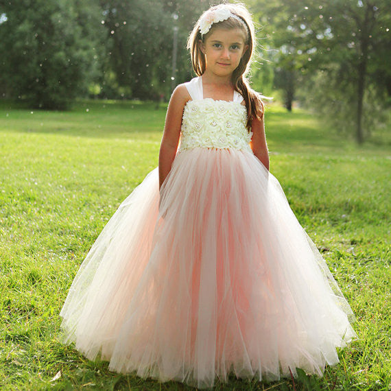pink and ivory ball gown flower girl dress pageant gown for little child birthday party gowns