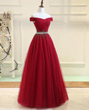 Elegant Long Prom Dresses with Sparkle Crystal Belt Off the Shoulder Wine Red/Navy Blue PL6634