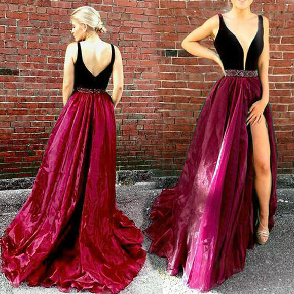 62368caaf34 LP1254 Sexy Plunge V Neckline Velvet and Organza A Line Prom Dress Burgundy  Pageant Dress Formal