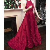 LP5780 Halter A Line Prom Dress Formal Gown Satin Long Evening Dress with handmade Flowers Festido De Festa