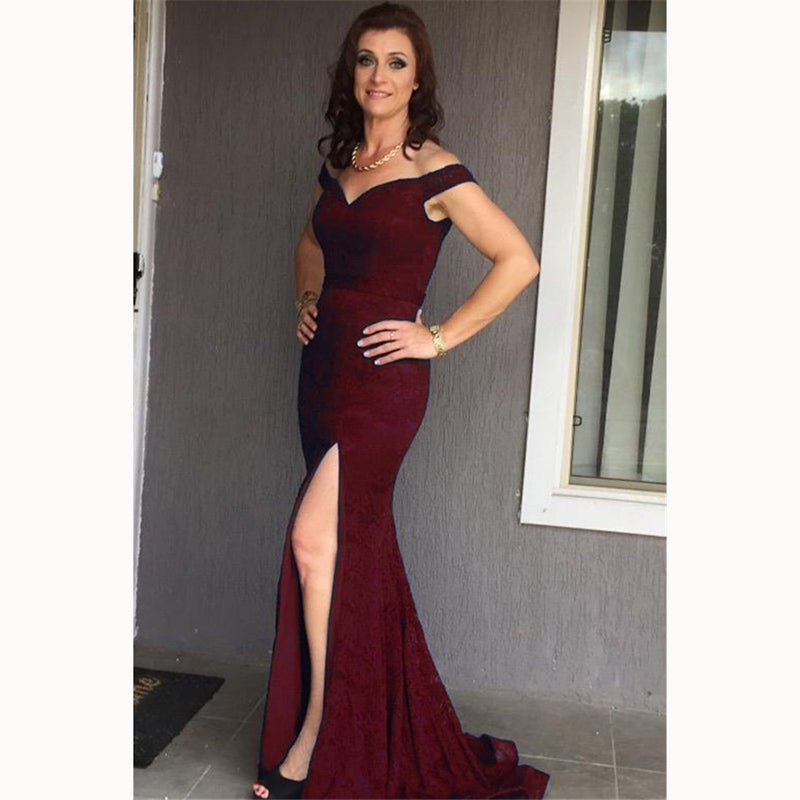 f742758ceceb1 ... LP4587 Elegant Fitted Prom Dress Lace Mermaid Long Formal evening gowns  for women