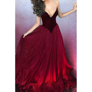 LP3357 Red Wine Sexy V neckline A line Velvet and Organza Corset Prom Gowns Graduation Long Dress 2018 vestido de festa