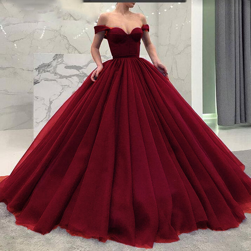 a2ae877c8b3e Fashionable Poofy Ball Gown Burgundy Wedding Dresses Off the Shoulder Prom Gown  masquerade ...