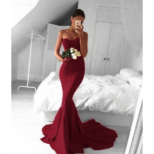 LP0298 Red Mermaid Satin Evening Gown 2018 Sexy Sweetheart Pageant Dresses ,Long Prom Party Gown