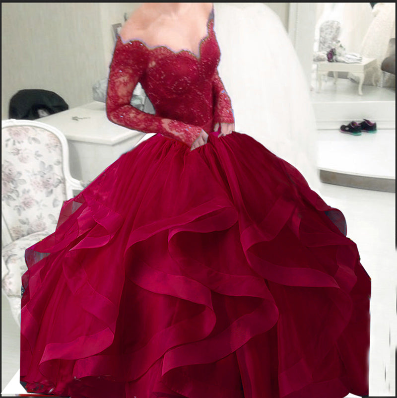 f05790673875f ... Royal Blue Puffy Ball Gown Organza Prom Dress Long Sleeves off the  Shoulder Lace Evening Formal ...
