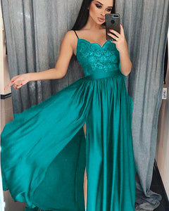 Turquoise/Burgundy/Dark Green Spaghetti Straps Women Long  Party Prom Dresses Vestido Longo PL5541