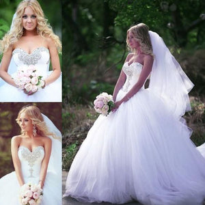 2020 Ball Gown Crystal Corset Wedding Dresses Princess Bridal Gown WD5569