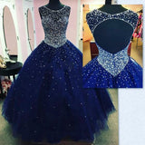 Blue Quinceanera Dresses Ball Gown Scoop Neck Open Back with Beading