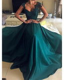 Teal Green Cap Sleeves A Line Satin Prom Party Dresses 2019 PL5521