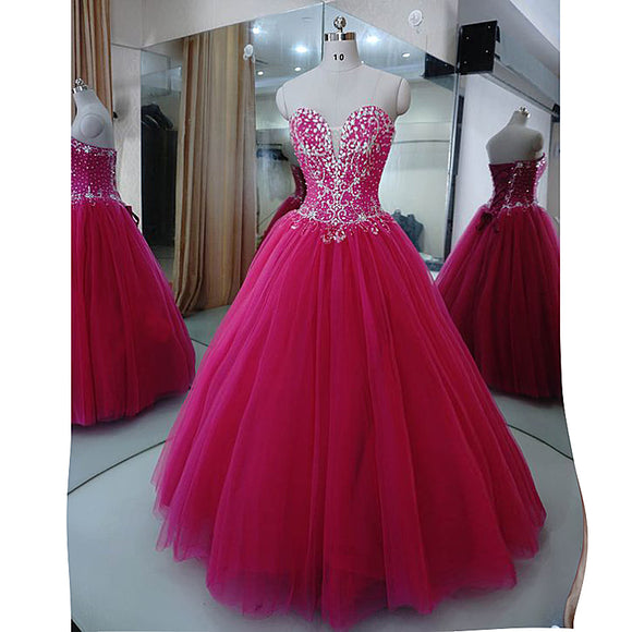 Gorgeous Fuchsia Crystal Prom Dresses ball Gown Sweet 16 Dress Quinceanera Gown Siaoryne LP1031