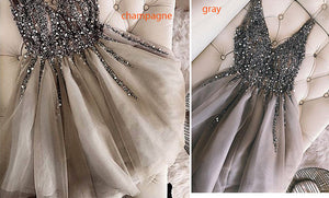 Full Beading  V Neck Short Prom Dress Girls Graduation Gown 2018 Homecoming Dress  SP340