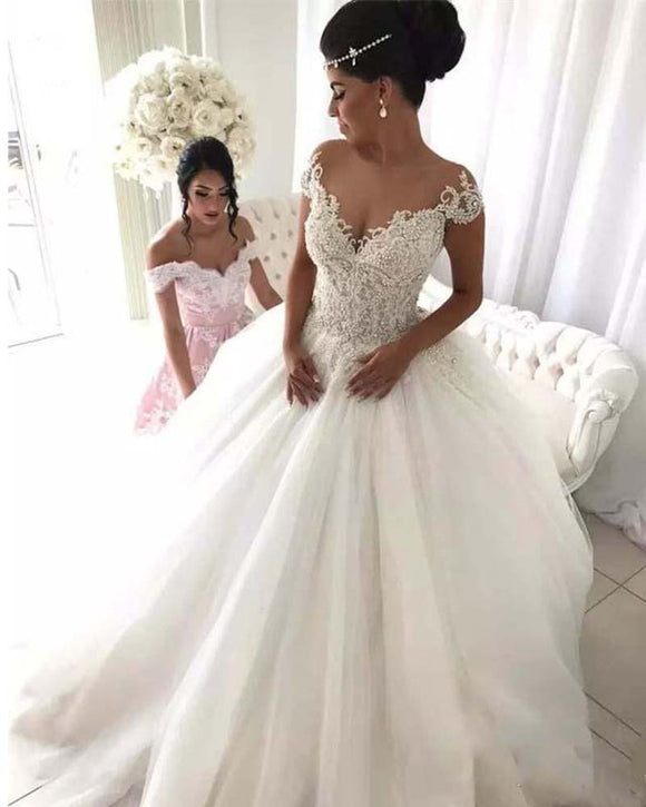 Ball Gown Lace and Beading Scoop Neck  Bridal Dresses for Wedding Vestido De Novia WD01215