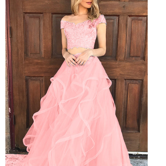 Coral Pink Tired Crop Top Prom Dress For Teens Graduation Formal Gown with Lace