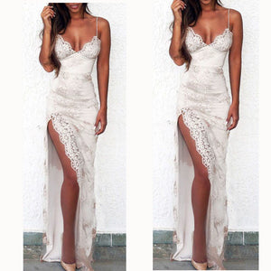 LP5527 Sexy Spaghetti Ivory Prom Dress with Lace Slit Leg Formal Evening party Dresses