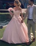 robe de soiree  Lace Satin Prom Dress Ball Gown off the shoulder Sweet 16 Quinceanera dress