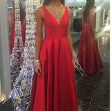 Red V Neck A Line Satin Prom Dresses 2018 Girls Graduation Gown Long Homecoming dresses