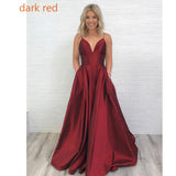 Dark Red Spaghetti Prom Dress Long Girls Graduation Gown A Line Formal Wear