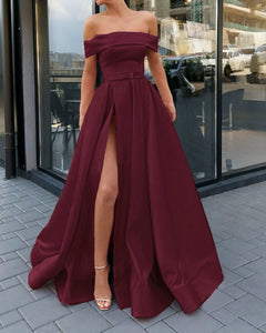 Amazing Draped Satin A Line Strapless Off the Shoulder Maroon Prom Long Evening Dress with Split  PL0715