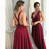 Sexy Cross Back Women Red Vine Formal Party Gown Long  V Neck Evening Dress 2018 LP5542
