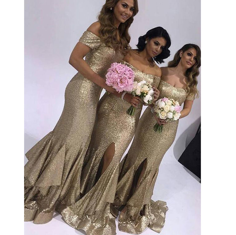 47acdbe4478 Off Shoulder Champagne sequins Bridesmaid Dress Mermaid Maid of honor Gown  for Women ...