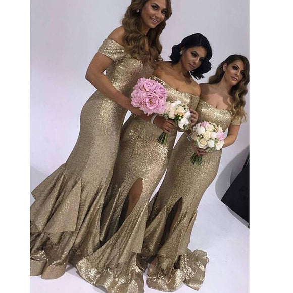 Off Shoulder Champagne sequins Bridesmaid Dress Mermaid Maid of honor Gown for Women