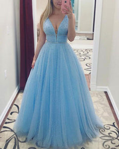 Baby Blue Luxury Fully  Beaded Long Prom Dresses Long Graduation Gown