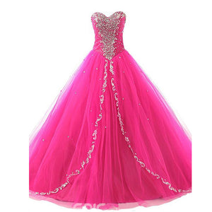 Fuchsia Sweetheart Masquerade Gown Ball Gown Tulle Prom Dresses with Beading Crystal Quinceanera Dress
