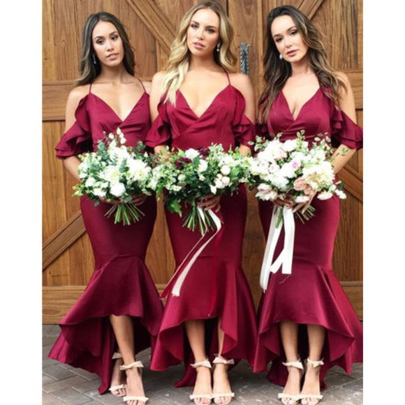 New Red Cold Shoulder Mermaid Prom Dress Tea Length Bridesmaid Dresses for Weddings LP470