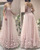 Elegant Pink Prom Dresses Floor Length Formal Party 2019 Wear with Lace Flowers PL872