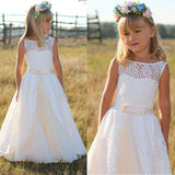 Siaoryne First Communion Dresses For Girls Long	Lace Boat Neck Flower Girl Dresses Sleeveless LP1010
