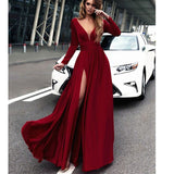 Long Sleeves Red/Burgundy Dress Chiffon Sexy Deep V Neck Women Formal Evening Dress