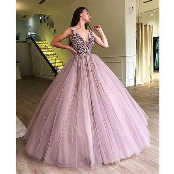 Ball Gown Prom Dress with Lace Beading Sexy V Neck women Formal Gown 2019 PL3285