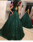 Sexy Halter Green Sparkly Sequins Pageant Dress for Girls Ball Gown Prom Dresses Vestido PL3360