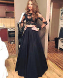Girls Long Senior Graduation Black Prom Dresses Crop Top with Sleeves PL874