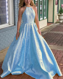Girls Long Graduation Gown Halter yellow Prom Dress with Pearl Yellow/Pink/Blue PL8877