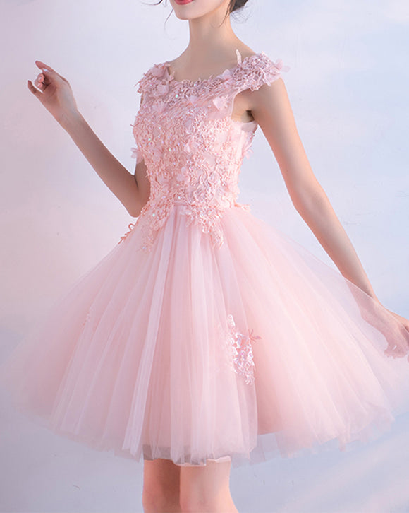 Cap Sleeves Pink Short Lace Cocktail Dress Short Homecoming Dress for Teens 8th Grade ,Semi Formal Dress SP0625