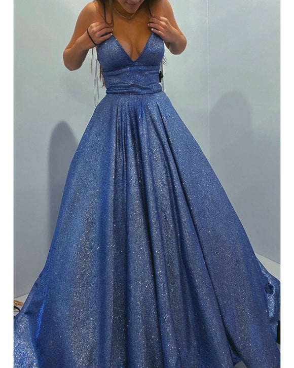 Shiny Blue Sexy V Neck Formal Evening Long Prom Party Dress with Spaghetti Straps LP10107
