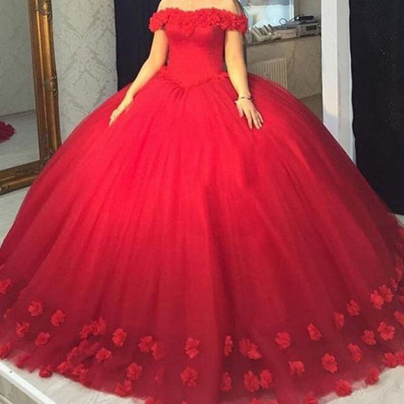 Ball Gown Red Quinceanra Dresses Off the Shoulder Prom Gowns Long PL2035