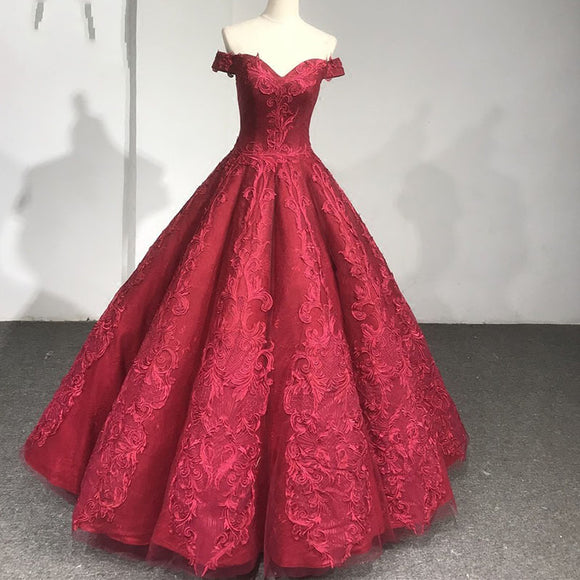 Burgundy Ball Gown Lace Wedding Dresses Quinceanera Dress 2018 Formal Prom Gown WN219