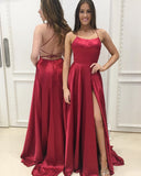 Elegant Red Halter Slit Prom Dress Women Evening Dress Long for Marine Corps