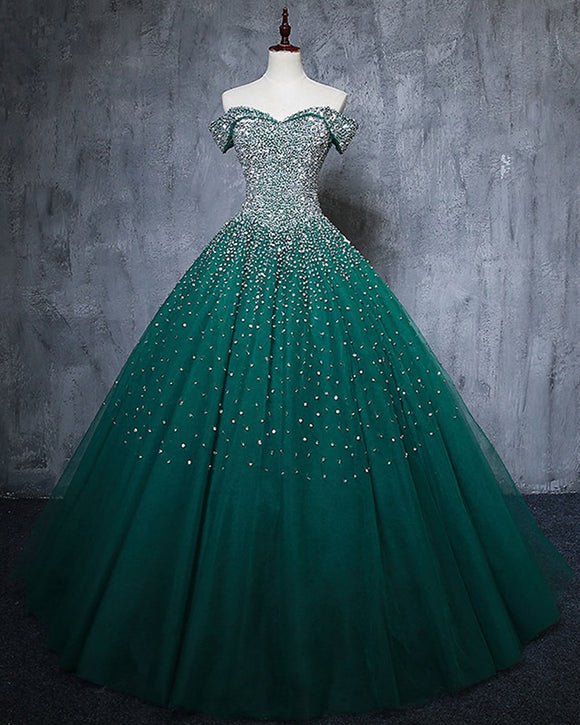 Sparkly Puffy Off the Shoulder Crystal Dark green Quinceanera DressesBall Gown  Prom Dress Ball Gown PL6211