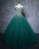 Elegant Off the Shoulder Pearl Dark green Quinceanera Dresses Prom Dress Ball Gown PL6211