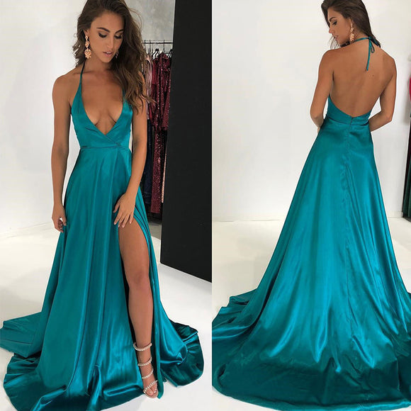 Turquoise Sexy Spaghetti Deep V Neck Long Evening Party Dresses Women Satin Slit Leg Prom Gown vestido de noche
