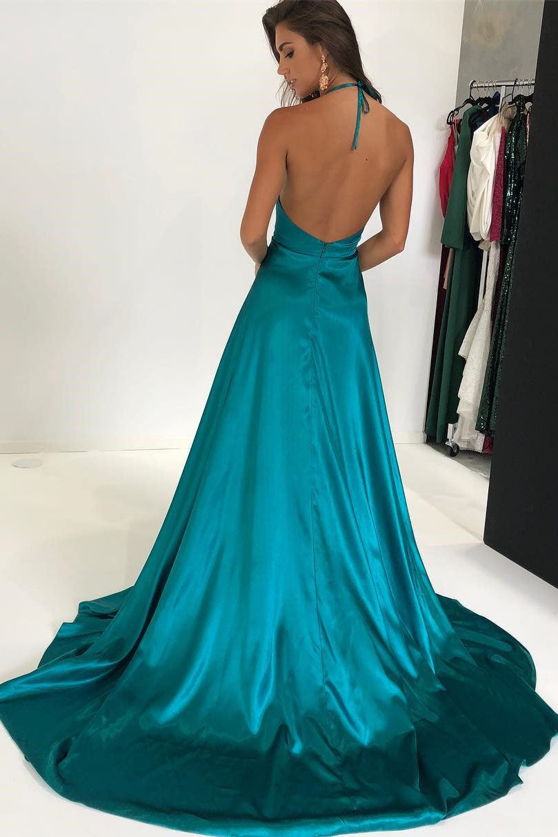 Turquoise Sexy Spaghetti Deep V Neck Long Evening Party Dresses ...