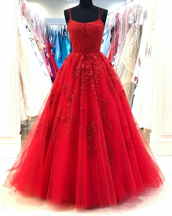 Amazing Spaghetti Straps Red Lace Prom Dresses Long Tulle Formal Party Gown PL0623