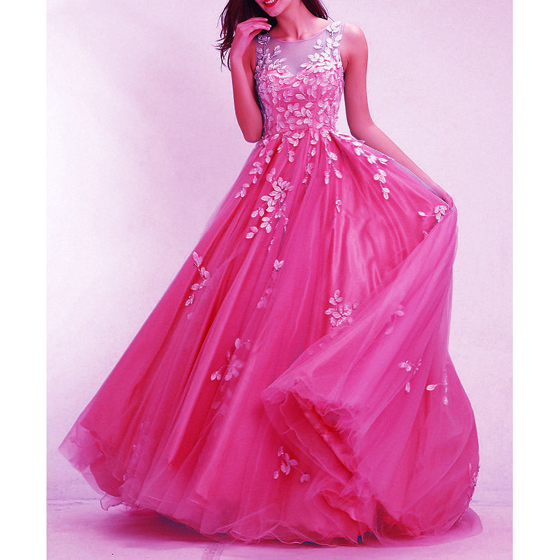 6ebe7ddb ... Hot Pink Prom Dresses Long 2018 Senior Prom Gown with Ivory Lace A Line  Full Skirt ...