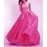 Hot Pink Prom Dresses Long 2018 Senior Prom Gown with Ivory Lace A Line Full Skirt