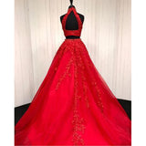 Stunning Halter Red Lace Crop Top Prom Dress Two Pieces Sexy Graduation Long Formal Gown for Girls