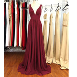 Red Elegant Pleated Chiffon Prom Dress Women Long Evening Formal Gown  LP841